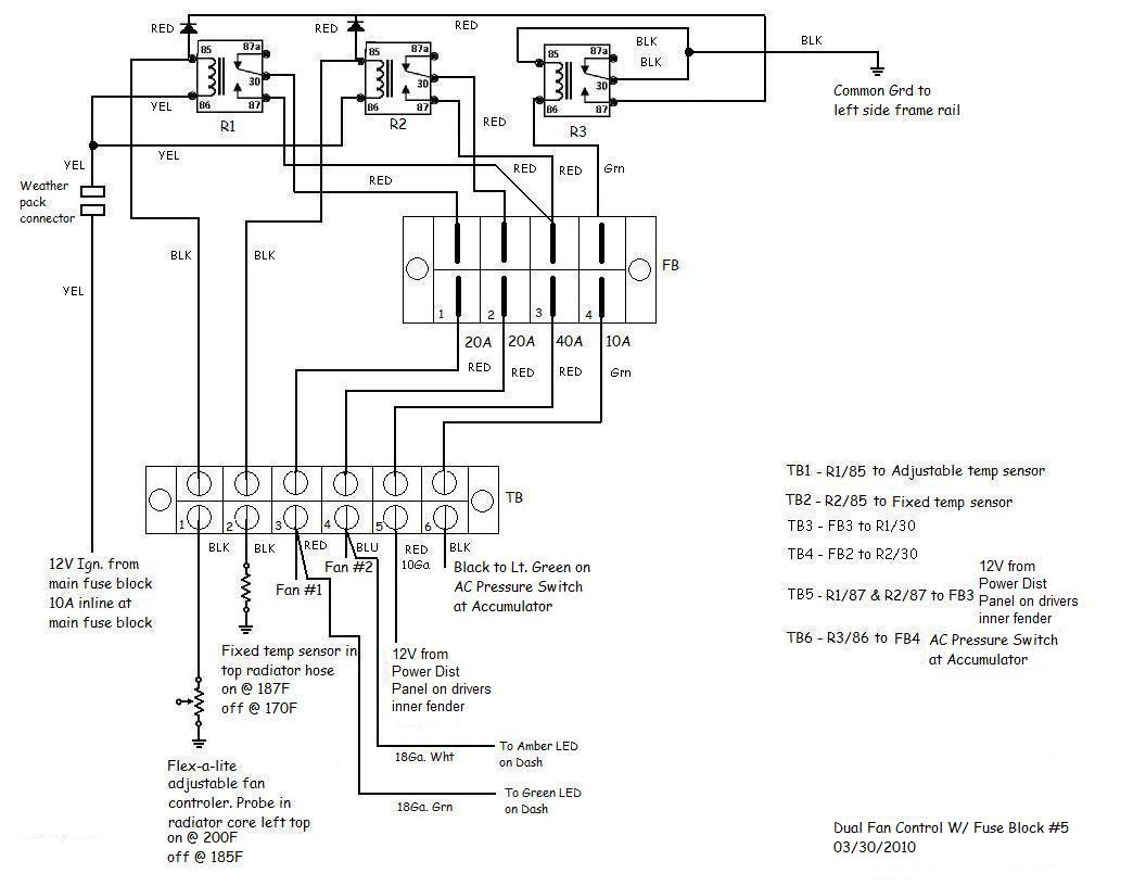 need some wiring help please hot rod forum hotrodders bulletin click image for larger version dual fan control fuse block 5 jpg