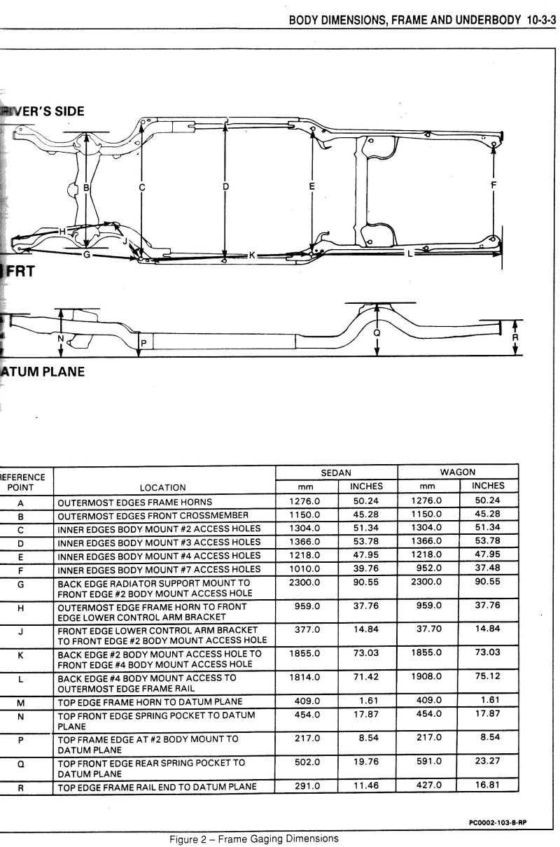 1991 Chevy S10 Frame Dimensions