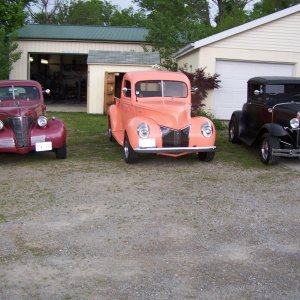 L-R '39 Chev., '41 Ford Pick Up, '31 Ford A Cpe.